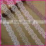 Factory Cheap Slim 2.6cm Stock Sock Pink Flower Embroideried Water Soluble Laces Trim Fabric
