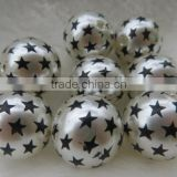 Jult 4th Chunky 20mm Round Acrylic Plastic Pearl with Star Print beads for Chunky Necklack Wholesales