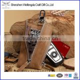 China factory zipper key holder leather wallet for multiple keys