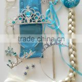 New arrival anna elsa frozen gloves + magic wand + rhinestone crown + hairpiece girls wig for sale GL4005