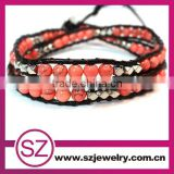 NTB0067 friendship bracelet knots with agate beads