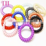 factory girls cheap hair accessories different colors elastic telephone wire plastic hair band                                                                                                         Supplier's Choice