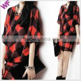 Custom Latest Red Plaid Casual Dress Batwing Sleeve Dress for Lady