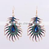 Pave Metal Peacock Feather Drop Earring