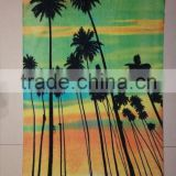 100% Cotton Velour Customized reactive printed beach towels cartoon beach towel----tropical plants