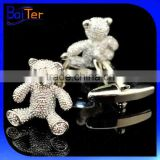 Fashion Novelty Cuff Link Brass Teddy Bear Cufflink Wholesale