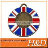 british flag round antique copper metal medal