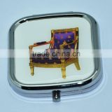 Hot sales blue arm chair metal cosmetic compact mirror