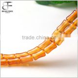Natural Semi-Precious Gemstone Bamboo Joint Shaped Light Red Orange Agate Loose Beads Strand