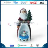 Christmas Resin Father Figurine Snow Globe Polyresin Customized Christmas Glass Santa Claus With Snowman Ornament