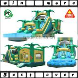 2016 hot 3 parts jungle kids and adults bounce house, big bouncing castle with removable slide n pool n stoppers for sale