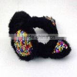 Black winter kids earmuff for sale with sequins