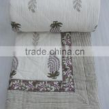 Indian Hand Block Print Pure White Kantha Cotton Quilt