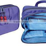 LADIES Travel/Cosmetics Bag Purple Canvas zipper hanging travel toiletry bag with multi-pockets