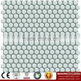 IMARK White Color Glazed Round Ceramic Mosaic Tile/ Shower Room Wall Decoration