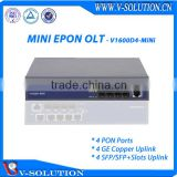 Mini 4PON EPON OLT Equipment for FTTH Solution Support SNMP Telnet and CLI Web Management
