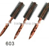wooden handle round hair brushes hair brush boar and nylon bristles