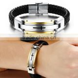 Fashion charming bangle bracelet,wholesale stainless steel New Arrival leather style buckle bangle