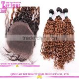 Grade 8a brazilian human virgin hair bundles with lace closure cheap ombre hair extension lace closure