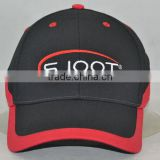 Guangzhou hat factory professional custom 6 panel / 100% cotton/black and red/embroidery logo/baseball cap with red pinging