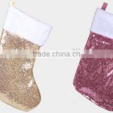 China factory colors of 4 fabric bling sock kit hanger holder wholesale wool felt Women's Christmas socks with sequin for decor
