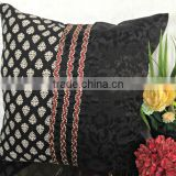 Black and white pillow, decorative pillow in black & white, printed black pillow, modern home decor, block print pillow