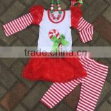 girls Christmas outfit candy cane pants sets with necklace and bow Yiwu Conice E-Commerce Firm