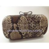 Bow Knot Rhinestones Closure Python Skin Leather Hard Case Clutch Purse Evening Bags HH-P1301