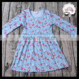 Lovely Design Wholesale Flamingo Print Long Sleeve Children Boutique Dress Fall Spring Designer Baby Clothes Smock Outfits Dress