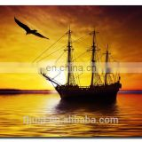 Abstract Fisher Boat and Eagle Oil Painting