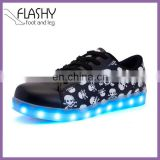Wholesale lace up skull led light shoes skeleton led sneakers casual 2017