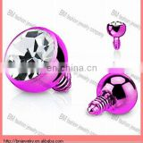 3mm Purple Titanium Round CZ Custom Dermal Anchor Top Jewelry Wholesale