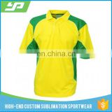 Dye sublimated Shorts sleeves cheap cricket clothing with yellow