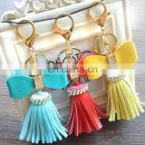 Promotional Bags Keys decoration Colorful Fancy Charm PU Leather crystal Tassel Keychain women keychain bag pendant