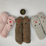 Polyester Fleece Indoors Fuzzy Slipper Socks 3D Cute Animals Winter Keep Warm Socks