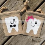 Personalized linen tooth fairy pouch for tooth holder
