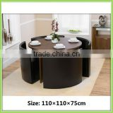 Hot Sale Space Saving Round Brown Dining Table Set