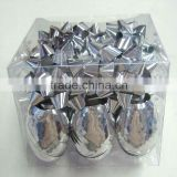 Silver Metallic Wrap Ribbon Egg and Blue Star Bow Decoration Set for Celebration Christmas,Party