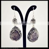 LFD-041E Wholesale Pave Rhinestone Crystal Ball With Druzy Drusy Quartz Stone Charms Dangle Earrings Jewelry Making