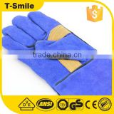 Blue safety cow split leather sailing gloves