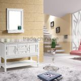 Supermarket Design Floor Standing Single Sink Vanity Marble Counter Solid Wood Bathroom Cabinet