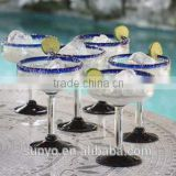 High Quality Handmade Crystal Blown Glass Blue Roots Margarita Glass