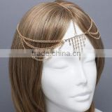 Fashion metal noble gold covered cystal stone metal forehead elastic hair band