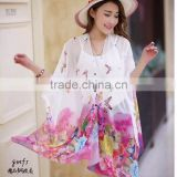 New arrival shirt women chiffon white blue pink purple beach shirt for women clothing,sun block                                                                         Quality Choice
