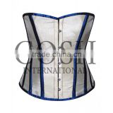 Overbust corset in blue and white satin Ci-1179