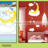 customized moon vinyl wall sticker for baby/UV printing die cutting reusable wall sticker