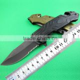 Aluminum oxidized handle survival rescue camping knife with belt cutter and glass breaker