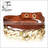 Double Strands Brown Leather Wrap Cuff Bracelet Alloy Wristband Gold Plated