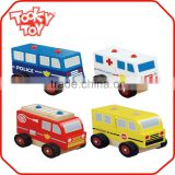 Assembly Police Fire Engine Ambulance School Bus Baby Arts and Craft Car Wooden Toy Vehicles