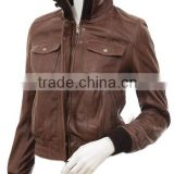 Women's Leather Bomber Jacket in Brown: